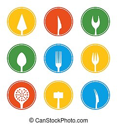 Cutlery icons set in circles