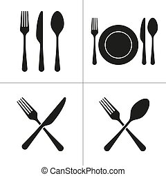 cutlery icons with fork, knife, spoon, plate