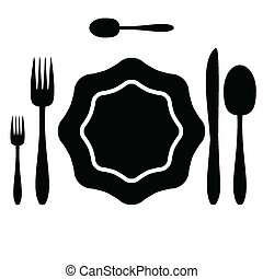 Illustration of cutlery silhouette on a white background.