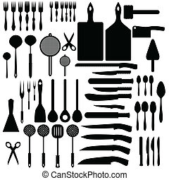 Cutlery - Illustration of silhouettes of cutlery and cooking...