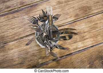 Cutlery in the restaurant