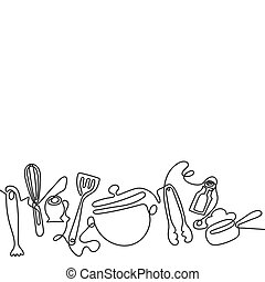 Cutlery line art background. One line drawing of different kitchen utensils. Vector
