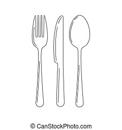 Cutlery line art icon set isolated on white background.