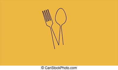 Cutlery menu animation - Knife spoon and fork menu, Video...