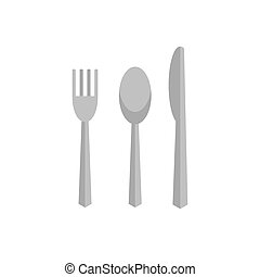 Cutlery on white background flat