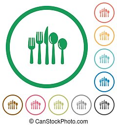 Cutlery outlined flat icons