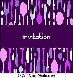 Cutlery pattern invitation. Violet background