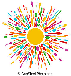 cutlery, restaurant, baggrund, ind, pulserende, farver