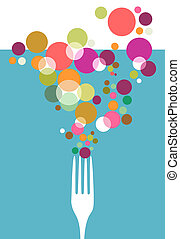 Cutlery icons. One fork silhouette with colorful circles on light blue background. Vector ilustration.
