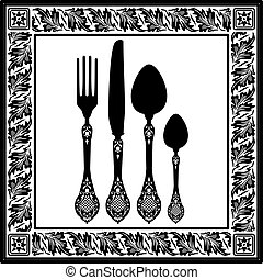 Retro silhouettes of fork, spoon and knife with ornaments. Food design, menu of restaurant card. Full scalable vector graphic included Eps v8 and 300 dpi JPG.