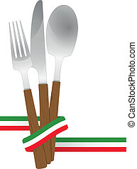 cutlery ribbon italy - illustration of cutlery set with...