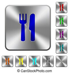 Cutlery rounded square steel buttons