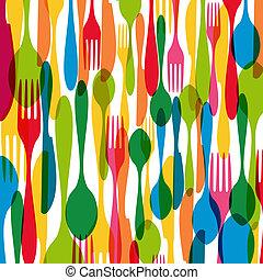Cutlery seamless pattern illustration - Colorful dishware...