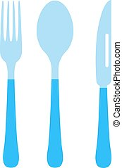 Cutlery set fork, knife and spoon vector illustration.