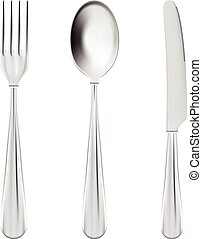 Cutlery Set - Fork, Spoon And Knife Isolated On A White Background. Vector Illustration.