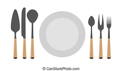 Cutlery set fork vector spoon knife isolated kitchen illustration plate table dinner icon restaurant
