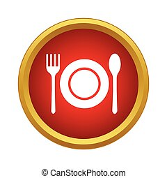 Cutlery set icon in simple style