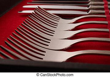 cutlery set in a case
