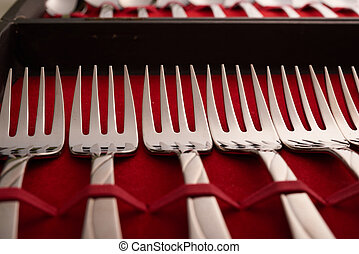 cutlery set in a case