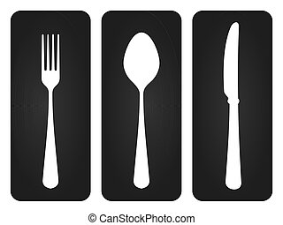 Cutlery Set in Black - Basic set of tableware silhouettes on...