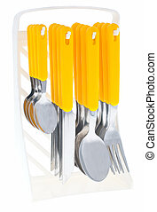 Cutlery set - Kitchen knifes set on a white background