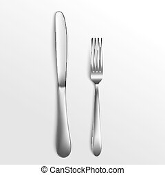 Cutlery set of silver fork and knife top view 3d vector illustration isolated.