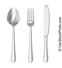 Cutlery set. Spoon, fork, knife.