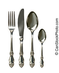 Cutlery set with Fork, Knife and Spoon isolated