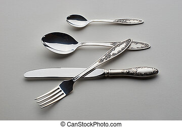 Set with fork, knife and spoons