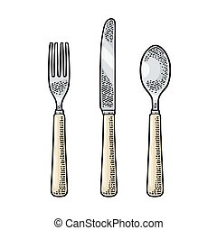 Cutlery set with knifes, spoon and fork. Vector vintage engraving