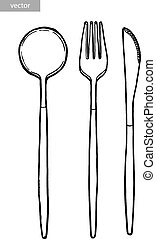 Cutlery, spoon, fork, knife. Ink hand drawing. Black and white. Food, vegetables and fruit isolated on white background. Book illustration, recipe, menu, magazine or journal article. Top view.