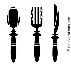 Cutlery - spoon, knife and fork - ikons