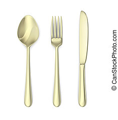 Cutlery: spoon, knife, fork. Isolated on white