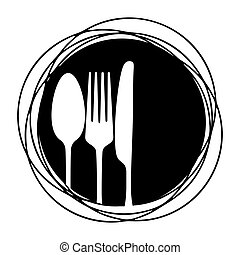 cutlery - symbol for gastronomy with knife, fork and spoon