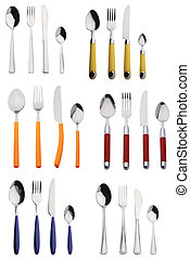 cutlery - six sets of new cutlery, stainless and colored
