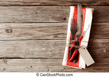 Cutlery Tied on Napkin with Chili Pepper and Tag
