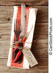 Cutlery Tied on Napkin with Red Chili Pepper & Tag