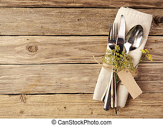 Cutlery Tied on Napkin with Small Leaves and Tag