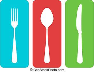 Cutlery Vector - Colorful cutlery vector illustration