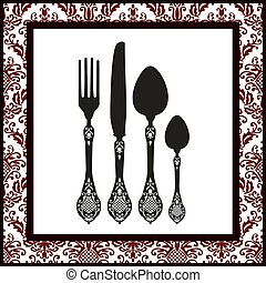 Vector silhouettes of fork, spoon and knife with ornaments. Food design. Full scalable vector graphic included Eps v8 and 300 dpi JPG.