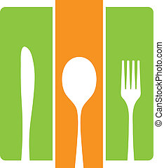 Black silhouette of knife, fork and spoon