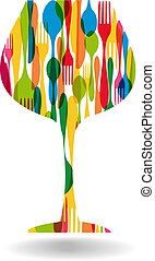 Cutlery wine glass shape illustration - Colorful dishware ...