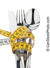 A measuring tape with cutlery. Symbol weight loss.