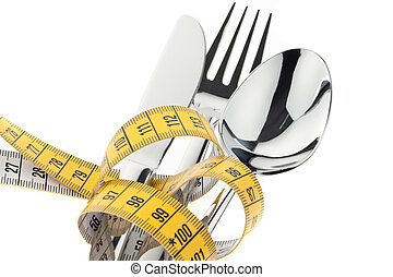 cutlery with tape. symbol diet.