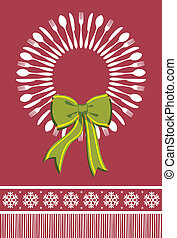 Cutlery menu design background for Christmas season. Fork, spoon and knife forming a wreath with a bow over red background.