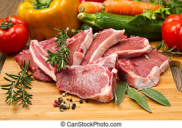 cutlet of lamb with vegetables