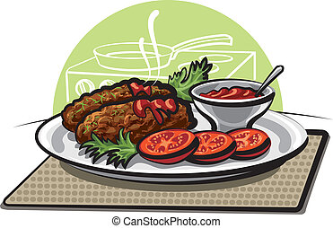 cutlets and sauce
