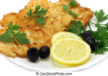 Cutlets composition on a white background