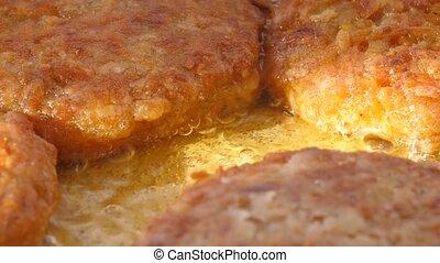Cutlet fried in oil in a frying pan