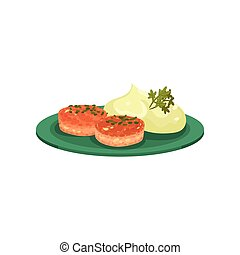 Cutlets with mashed potatoes served on a plate, tasty dish vector Illustration on a white background